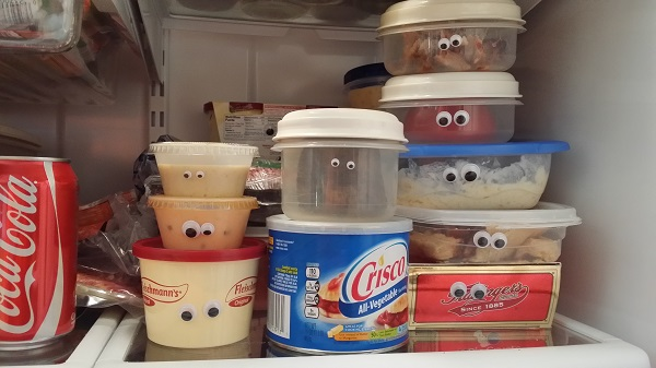 googly eyes in frig