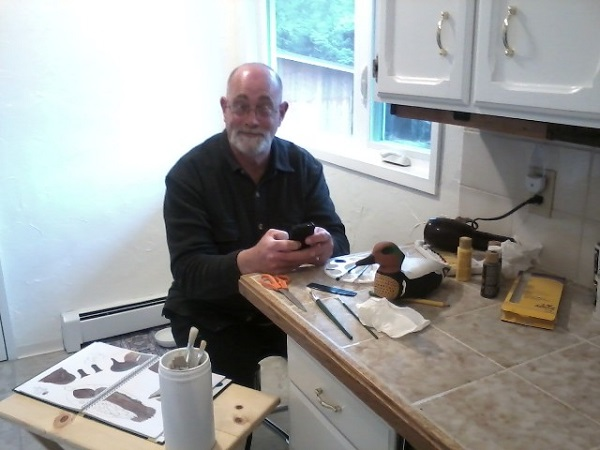 hubby working on wood duck