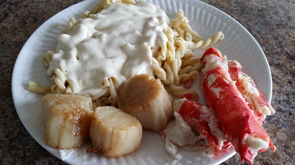 king crab and scallops dinner