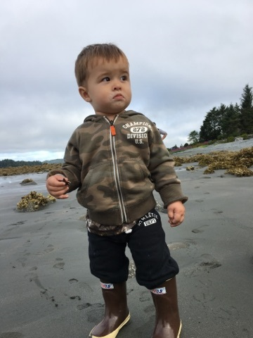 little man on beach