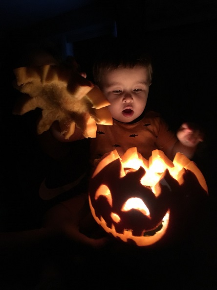 little man with pumpkin